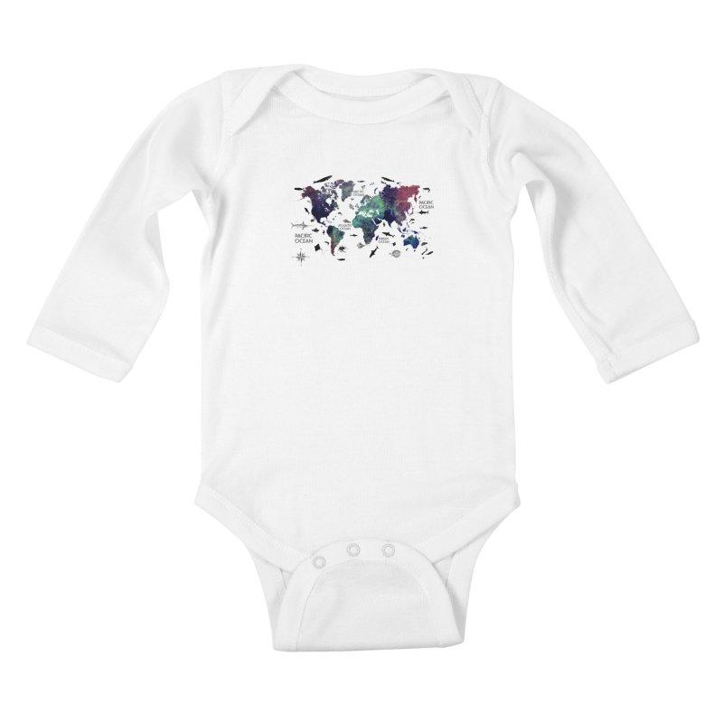 world map 12 Kids Baby Longsleeve Bodysuit by jbjart Artist Shop