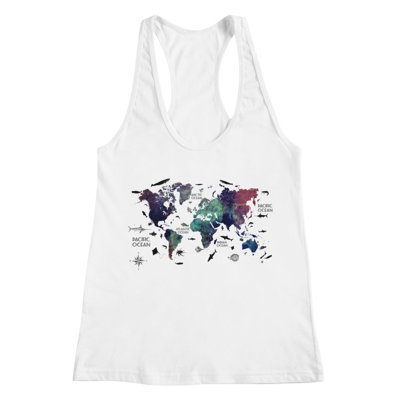 world map 12 Women's Racerback Tank by jbjart Artist Shop