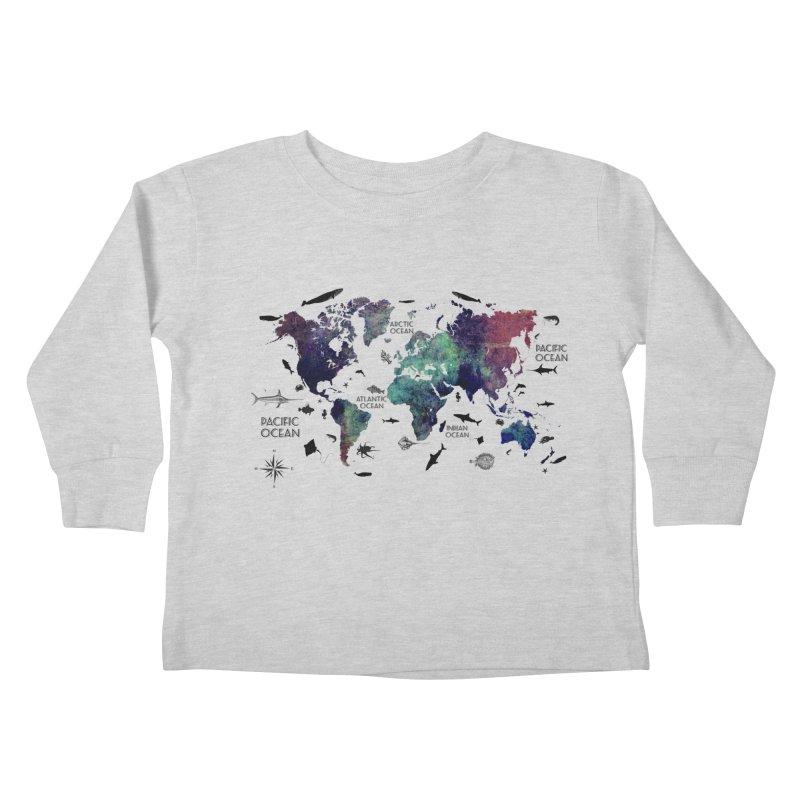 world map 12 Kids Toddler Longsleeve T-Shirt by jbjart Artist Shop