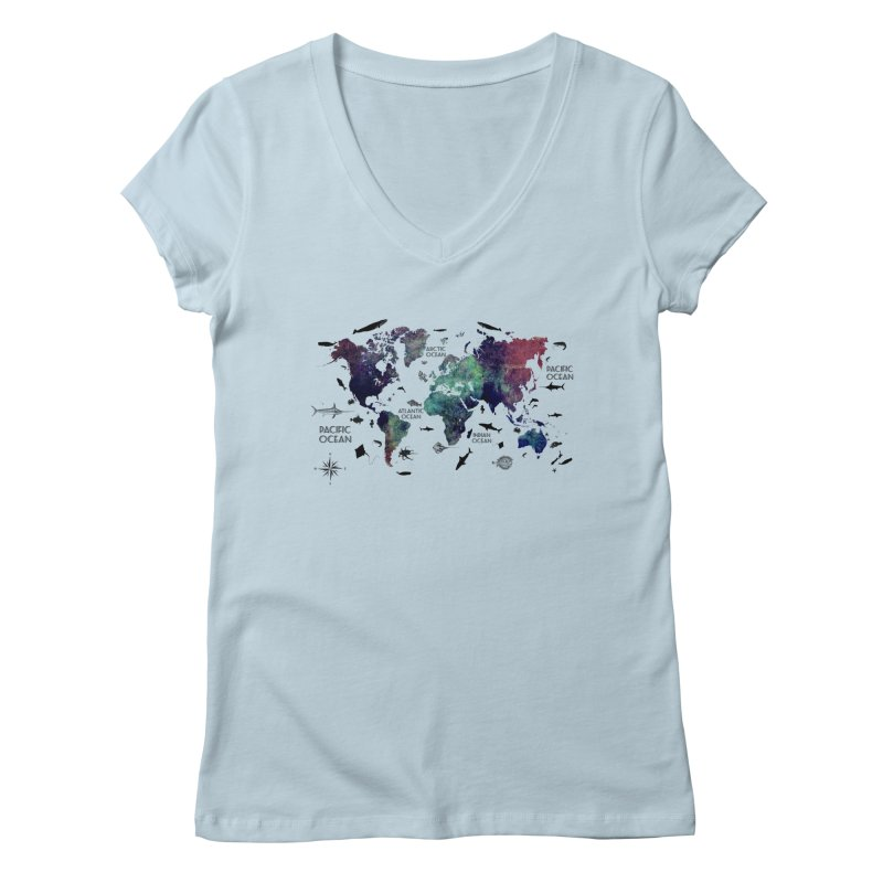 world map 12 Women's V-Neck by jbjart Artist Shop