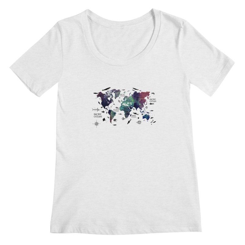world map 12 Women's Regular Scoop Neck by jbjart Artist Shop