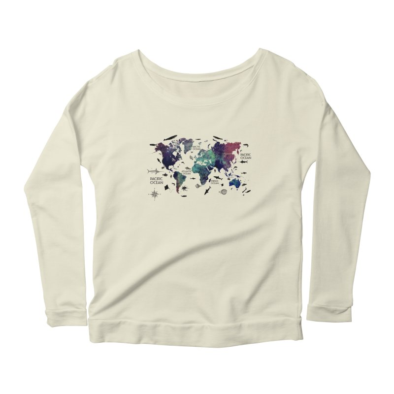 world map 12 Women's Scoop Neck Longsleeve T-Shirt by jbjart Artist Shop