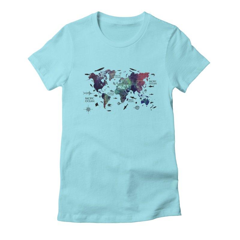 world map 12 Women's Fitted T-Shirt by jbjart Artist Shop