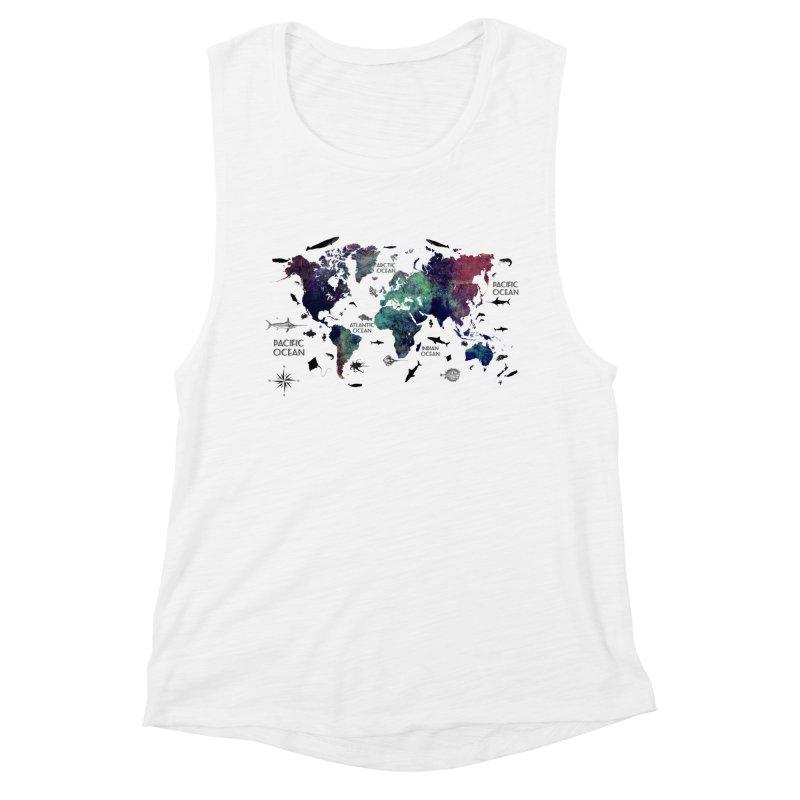 world map 12 Women's Muscle Tank by jbjart Artist Shop