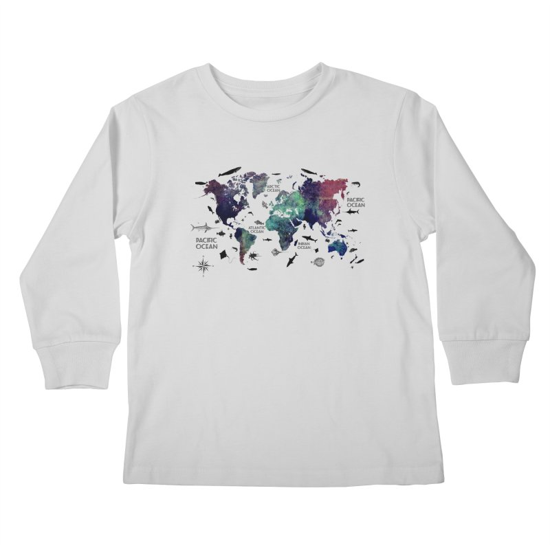 world map 12 Kids Longsleeve T-Shirt by jbjart Artist Shop