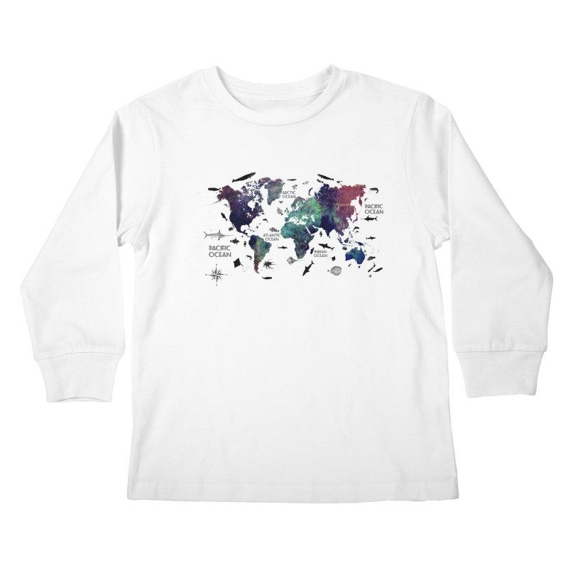 world map 12 Kids Longsleeve T-Shirt by jbjart Artist Shop