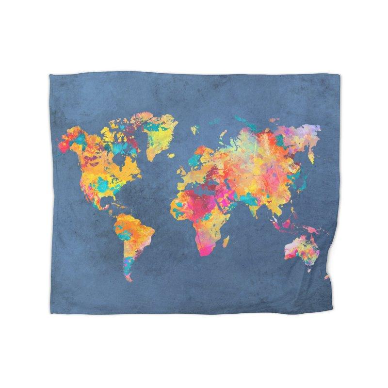 world map 14 in Fleece Blanket Blanket by jbjart Artist Shop