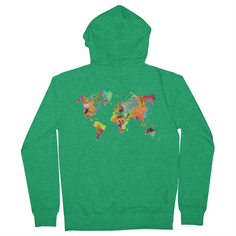 world map colors 16 Women's French Terry Zip-Up Hoody by jbjart Artist Shop