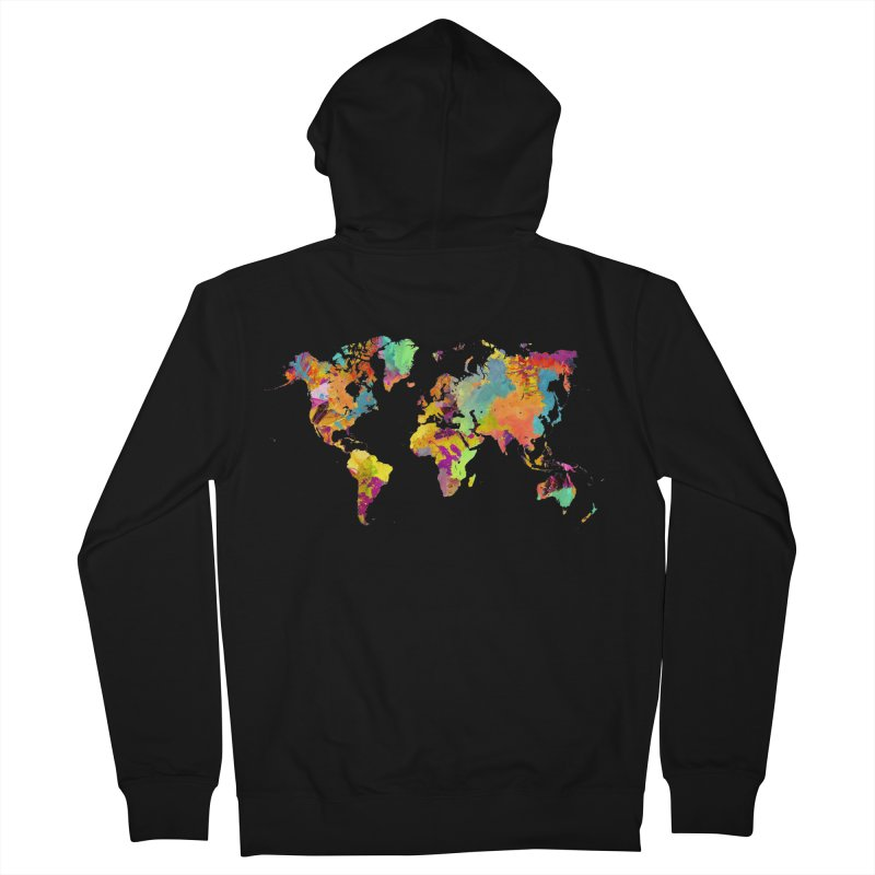 world map colors 16 Men's French Terry Zip-Up Hoody by jbjart Artist Shop