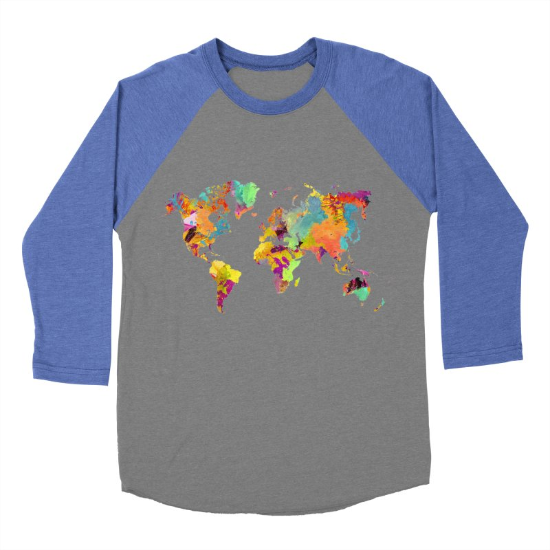 world map colors 16 Women's Baseball Triblend Longsleeve T-Shirt by jbjart Artist Shop
