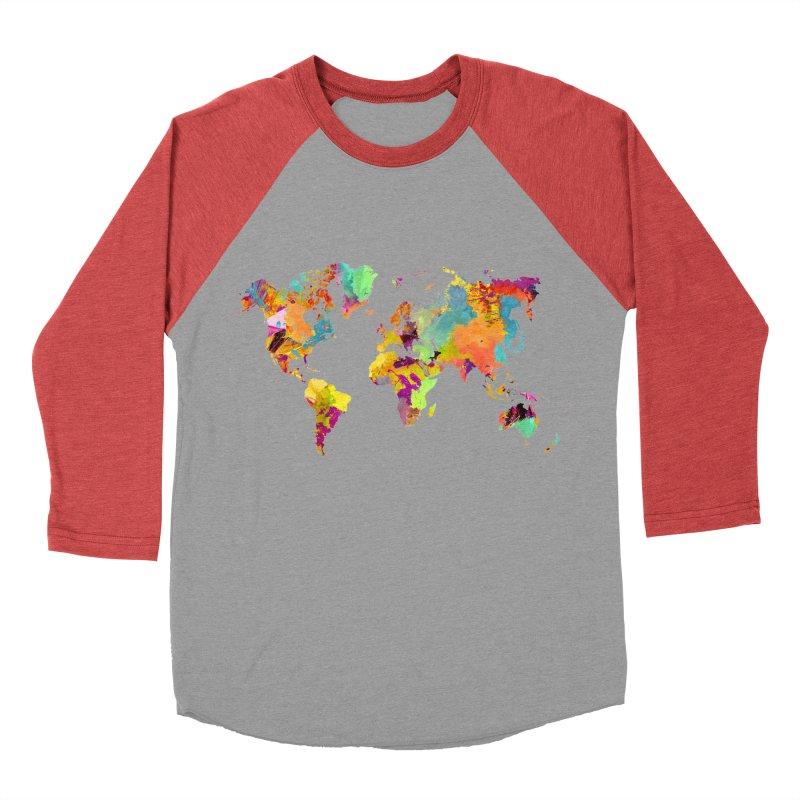 world map colors 16 Women's Baseball Triblend Longsleeve T-Shirt by jbjart Artist Shop