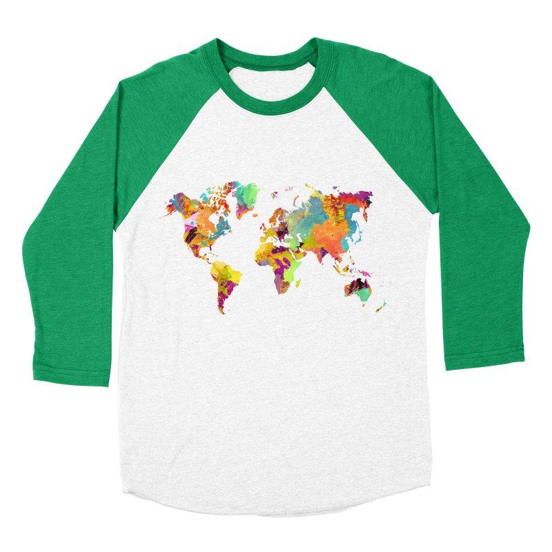 world map colors 16 Men's Baseball Triblend Longsleeve T-Shirt by jbjart Artist Shop