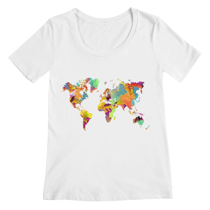 world map colors 16 Women's Regular Scoop Neck by jbjart Artist Shop