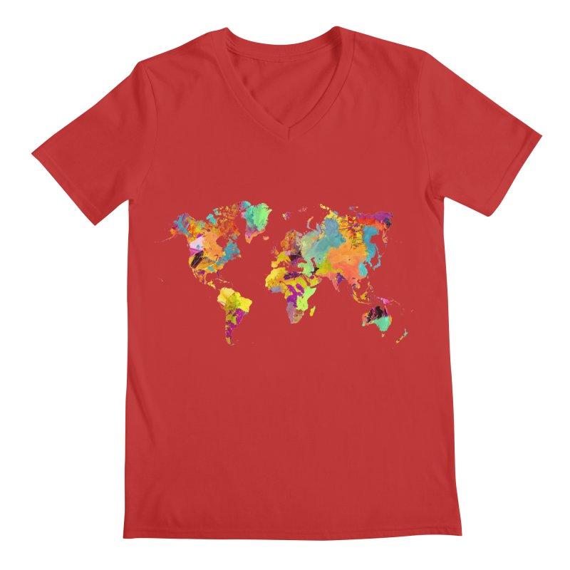 world map colors 16 Men's Regular V-Neck by jbjart Artist Shop