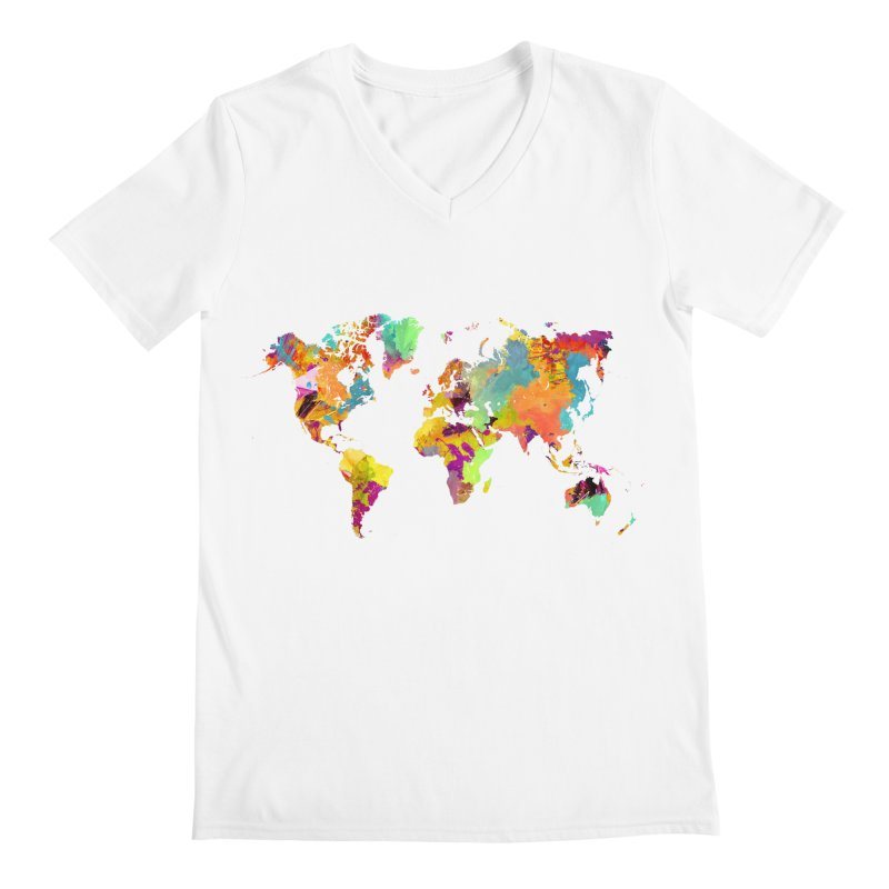 world map colors 16 Men's V-Neck by jbjart Artist Shop