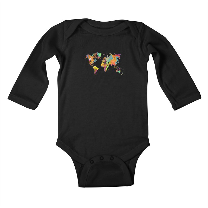 world map colors 16 Kids Baby Longsleeve Bodysuit by jbjart Artist Shop