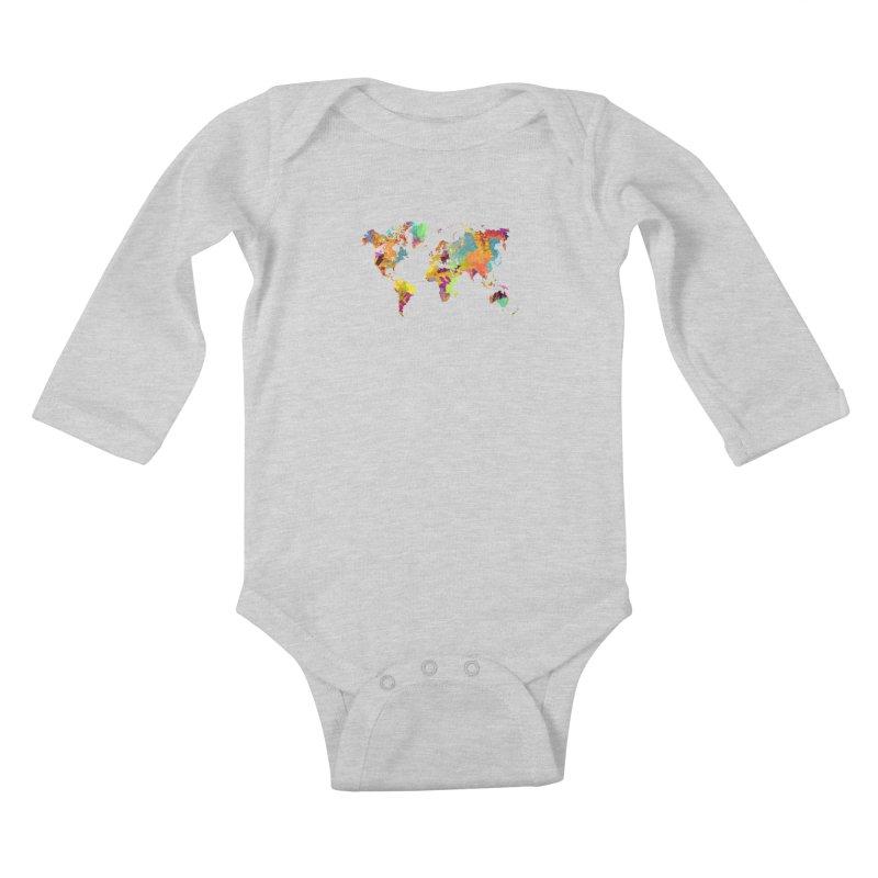 world map colors 16 Kids Baby Longsleeve Bodysuit by jbjart Artist Shop