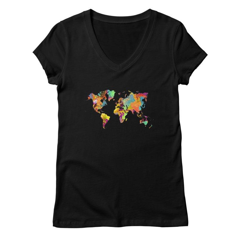 world map colors 16 Women's V-Neck by jbjart Artist Shop