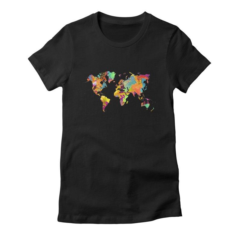 world map colors 16 in Women's Fitted T-Shirt Black by jbjart Artist Shop