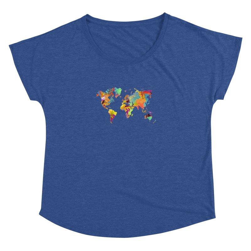 world map colors 16 Women's Dolman Scoop Neck by jbjart Artist Shop