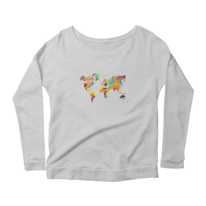 world map colors 16 Women's Scoop Neck Longsleeve T-Shirt by jbjart Artist Shop
