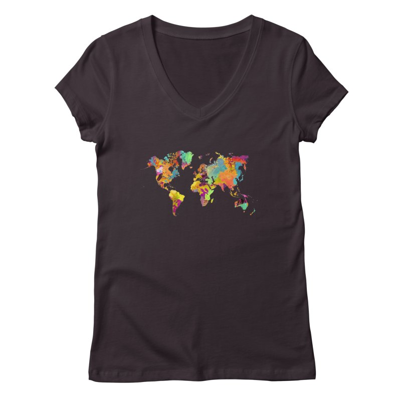 world map colors 16 Women's Regular V-Neck by jbjart Artist Shop