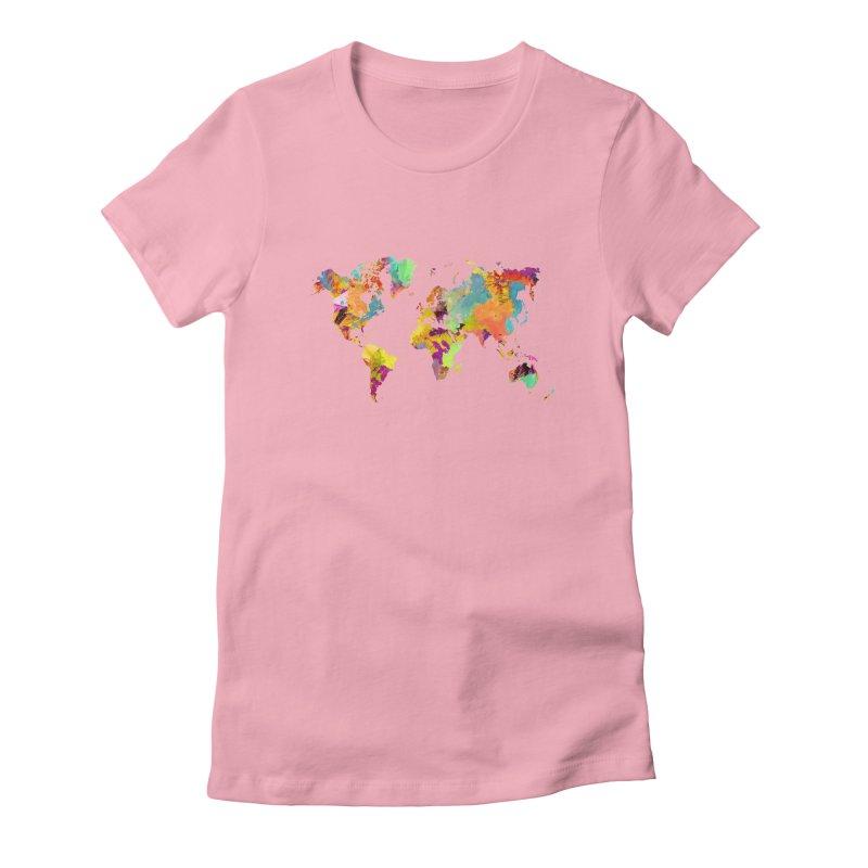 world map colors 16 Women's Fitted T-Shirt by jbjart Artist Shop