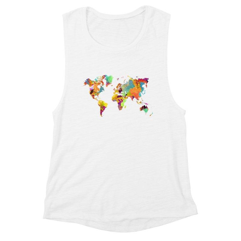 world map colors 16 Women's Muscle Tank by jbjart Artist Shop