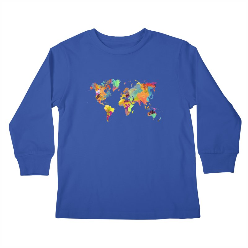 world map colors 16 Kids Longsleeve T-Shirt by jbjart Artist Shop