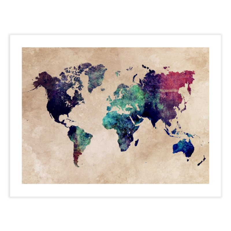 world map 20 Home Fine Art Print by jbjart Artist Shop