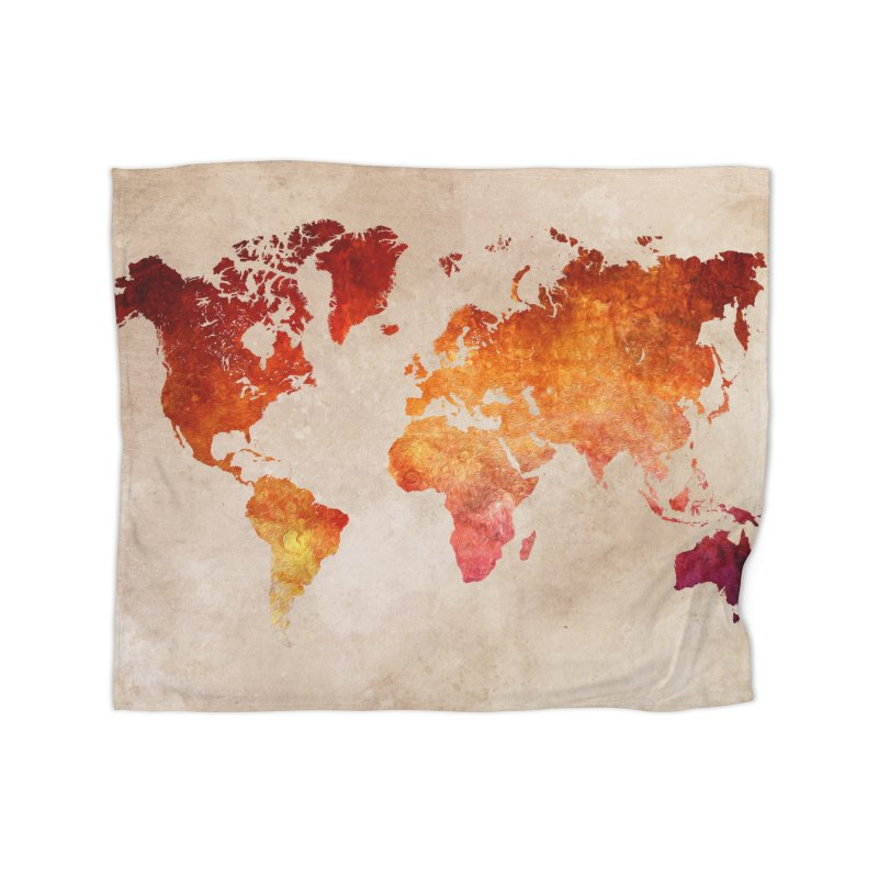 world map red 21 in Fleece Blanket Blanket by jbjart Artist Shop