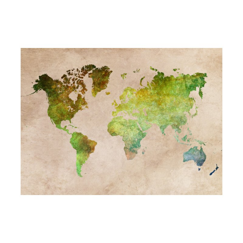 world map green 22 Home Fine Art Print by jbjart Artist Shop