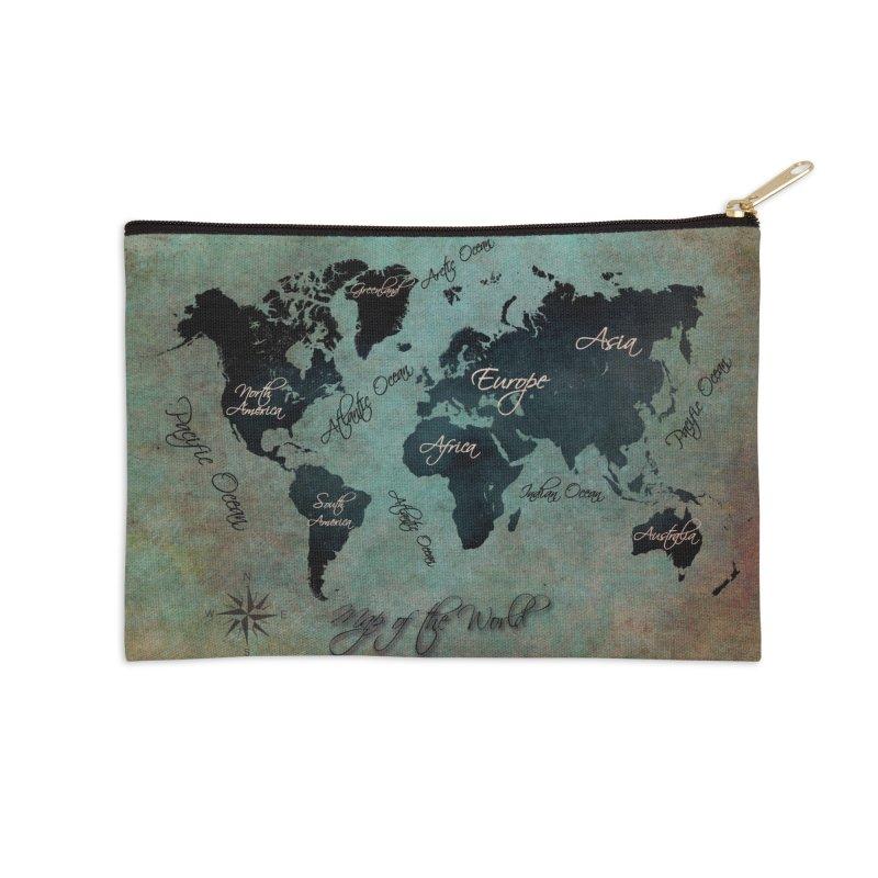 world map 24 Accessories Zip Pouch by jbjart Artist Shop