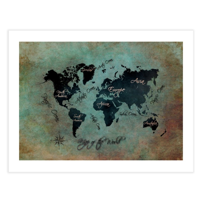 world map 24 Home Fine Art Print by jbjart Artist Shop
