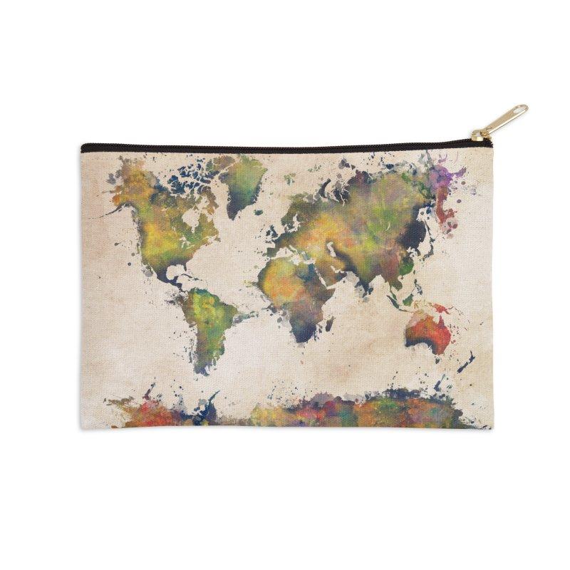 world map 25 Accessories Zip Pouch by jbjart Artist Shop