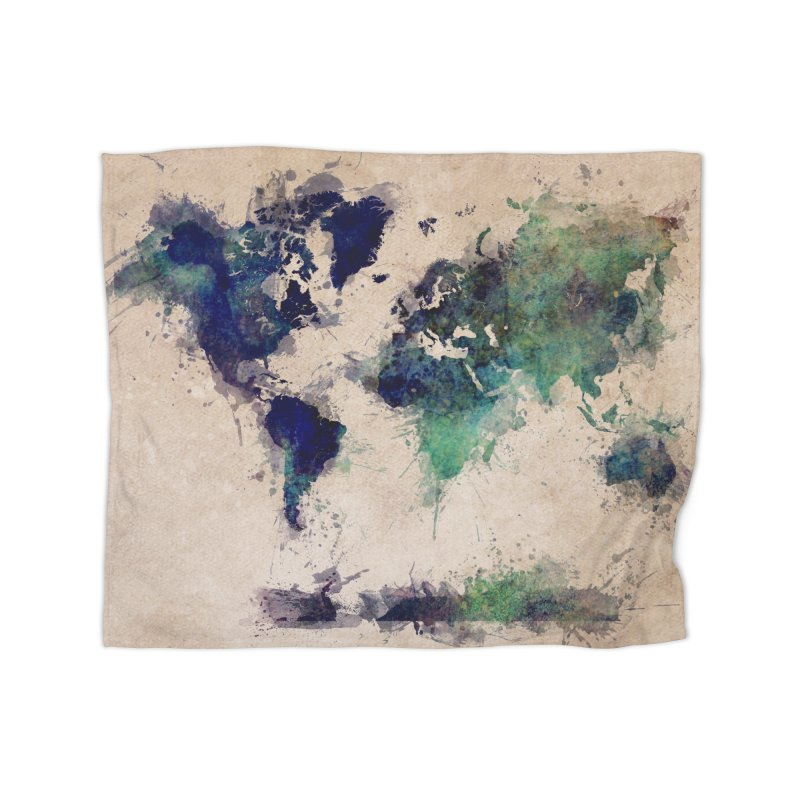 world map green 26  in Fleece Blanket Blanket by jbjart Artist Shop