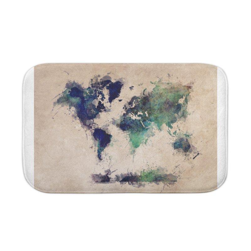 world map green 26  Home Bath Mat by jbjart Artist Shop
