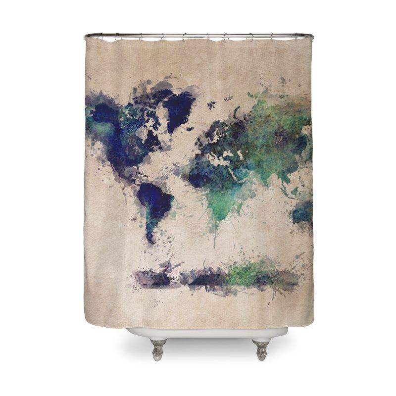 world map green 26  Home Shower Curtain by jbjart Artist Shop