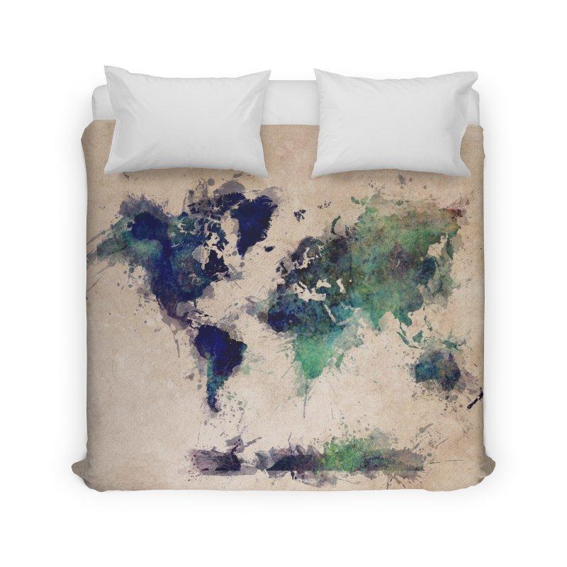 world map green 26  Home Duvet by jbjart Artist Shop