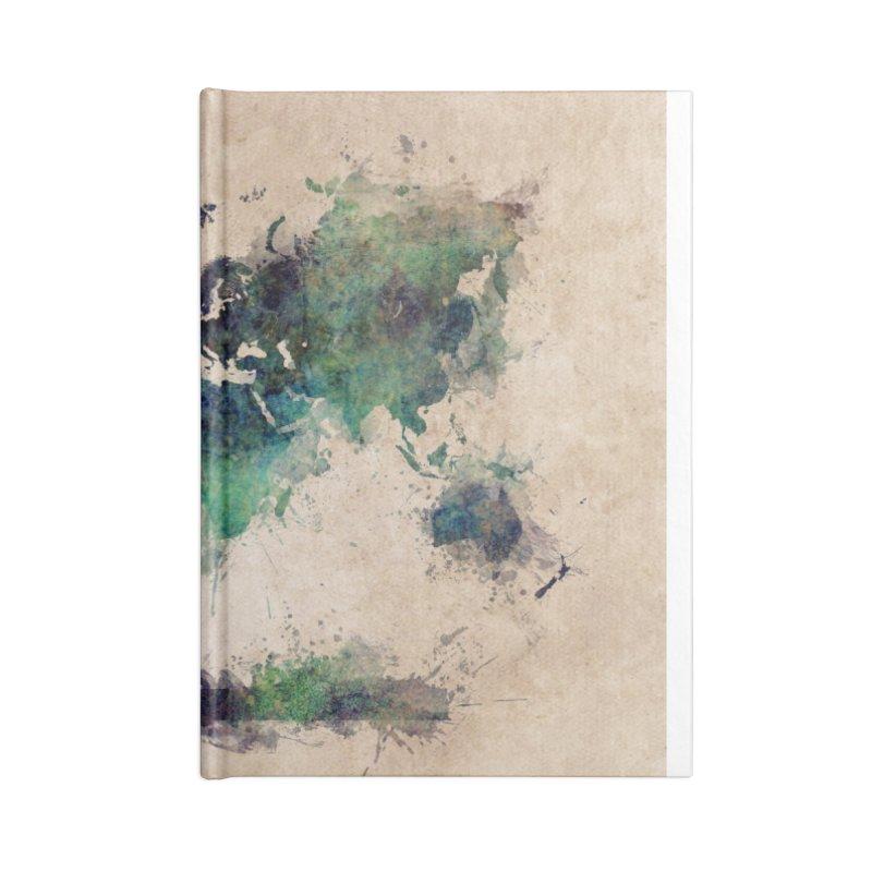 world map green 26  Accessories Blank Journal Notebook by jbjart Artist Shop