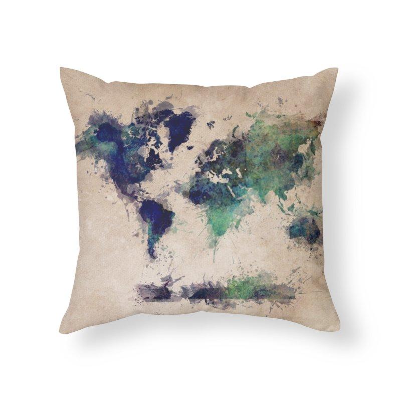 world map green 26  Home Throw Pillow by jbjart Artist Shop