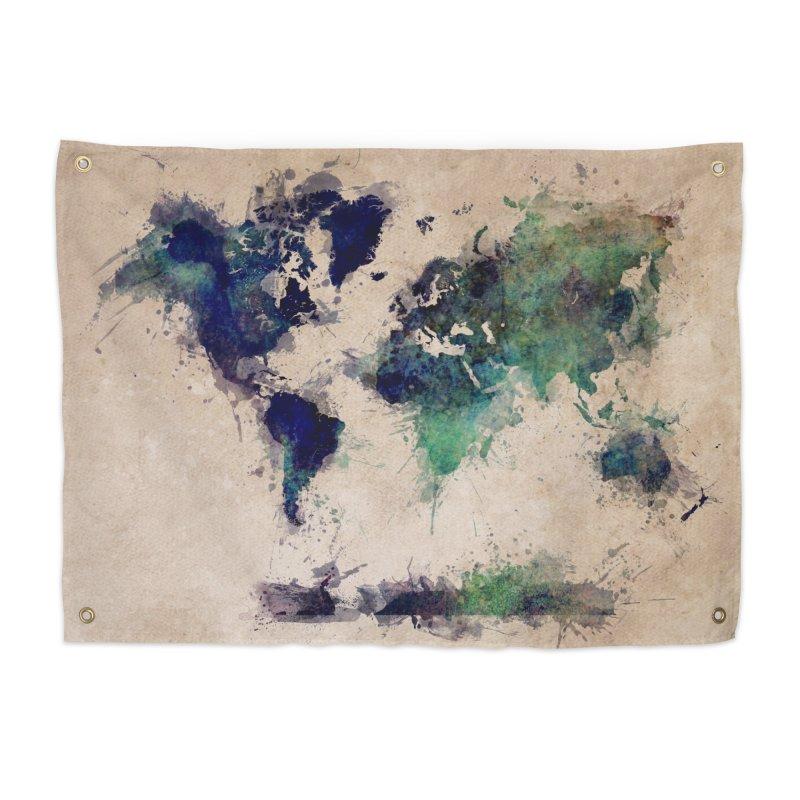 world map green 26  Home Tapestry by jbjart Artist Shop