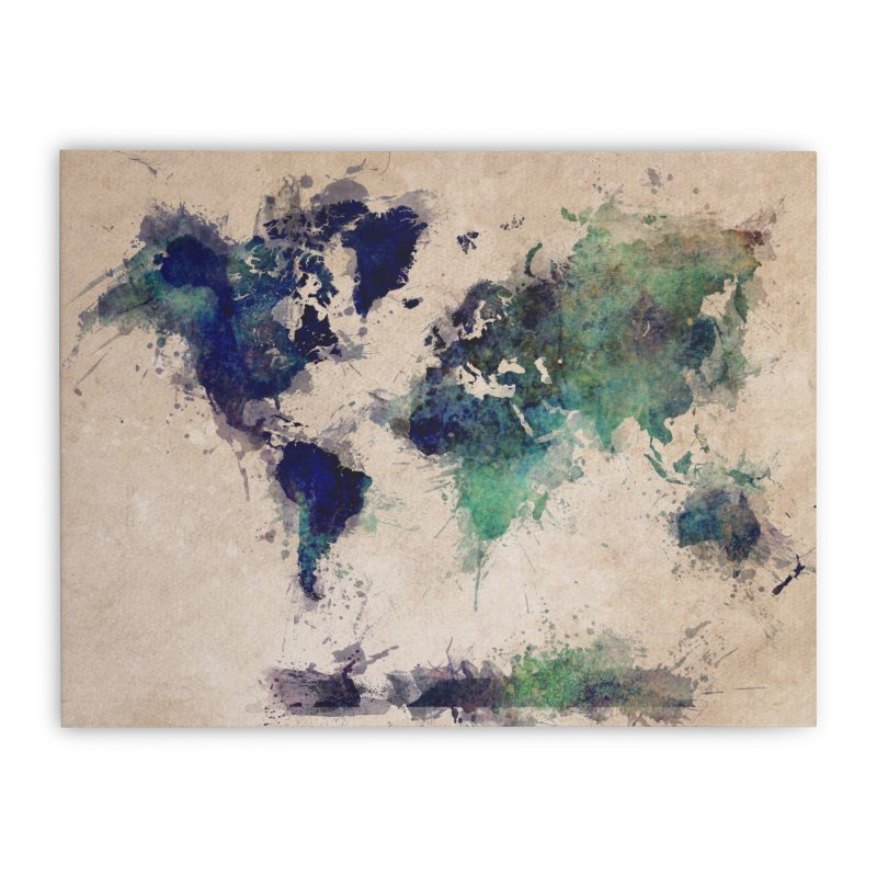 world map green 26  Home Stretched Canvas by jbjart Artist Shop