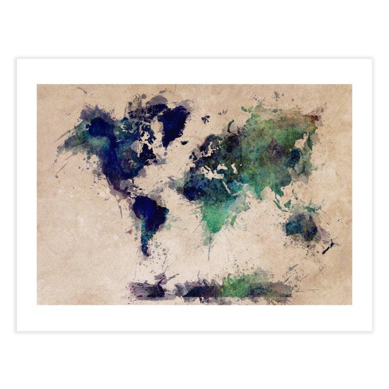 world map green 26  Home Fine Art Print by jbjart Artist Shop