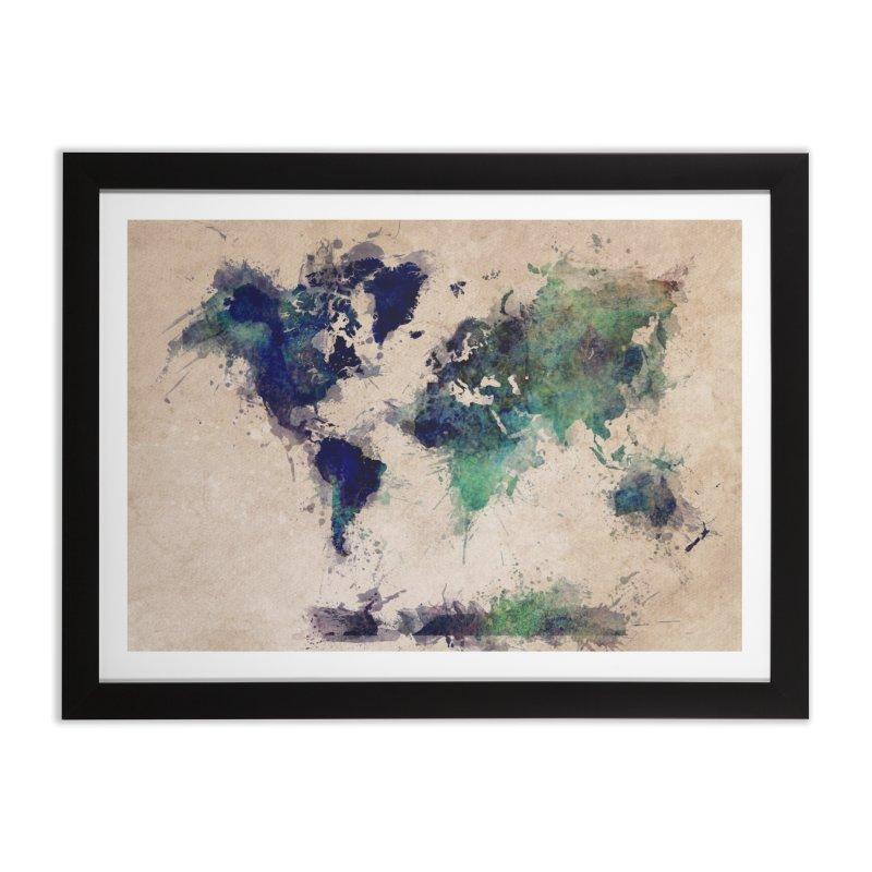 world map green 26  Home Framed Fine Art Print by jbjart Artist Shop
