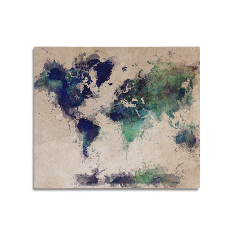world map green 26  Home Mounted Aluminum Print by jbjart Artist Shop