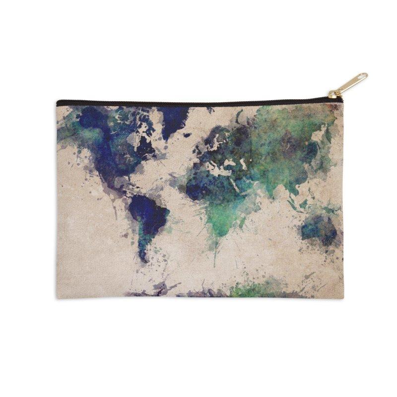 world map green 26  Accessories Zip Pouch by jbjart Artist Shop
