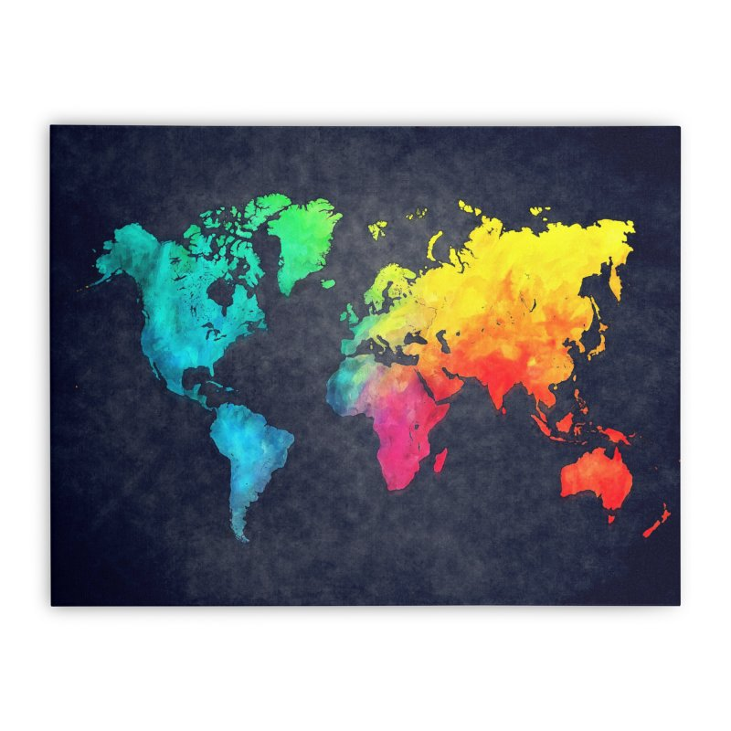 world map colors 27 Home Stretched Canvas by jbjart Artist Shop