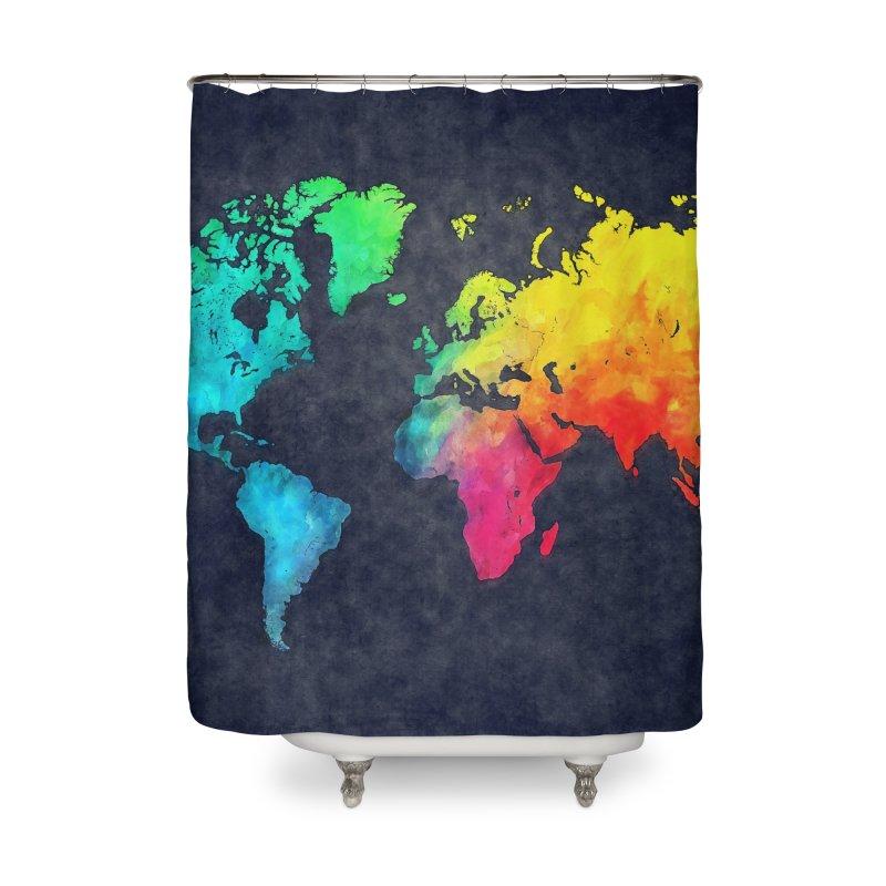 world map colors 27 Home Shower Curtain by jbjart Artist Shop