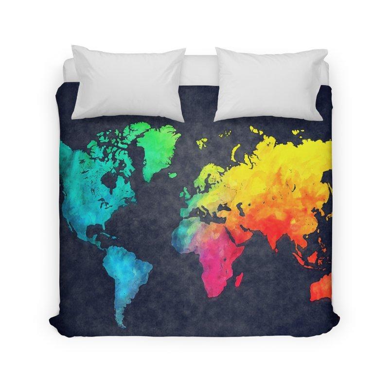 world map colors 27 Home Duvet by jbjart Artist Shop